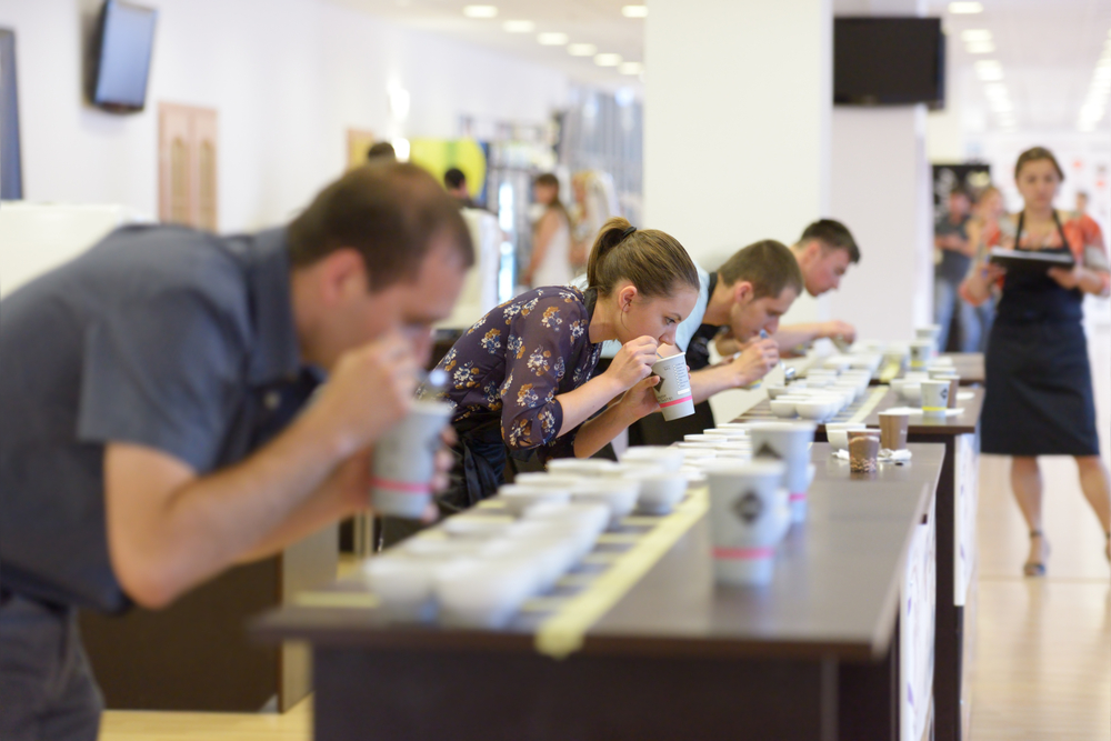 A group of individuals sniffing and tasting different kinds of coffee in a modern white room.