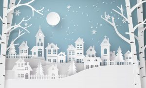 winter houses paper cutout