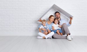 a family underneath a roof