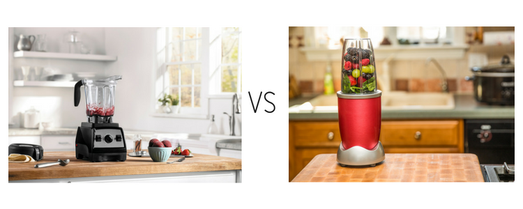 A traditional blender vs. a bullet blender.