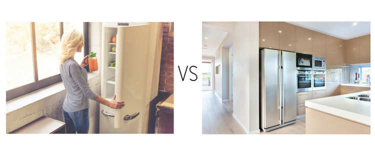 Two door fridge vs. a bottom drawer fridge.