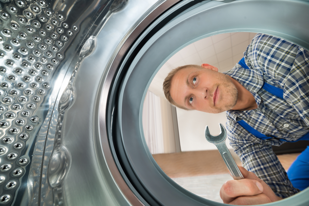 A repairman looks into the tub of a clothing dryer.