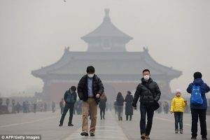 people in China wearing face masks due to bad air quality