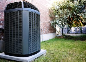 A high-efficiency air conditioner unit outside.