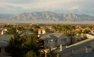 An overhead view of a neighborhood in Las Vegas.
